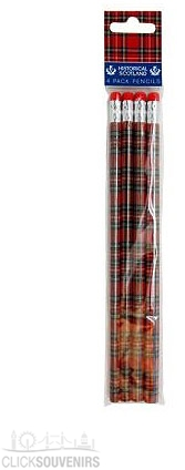 Pack of Four Scotland Tartan Pencils