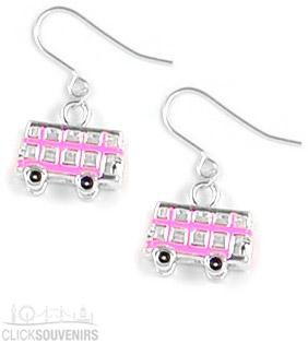 Pink Enamel Bus Earrings