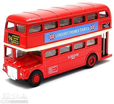 Pullback Die Cast Metal Red Double Decker Bus Model