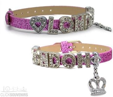 Purple Glitter Rhinestone Crown London Letter Bracelet