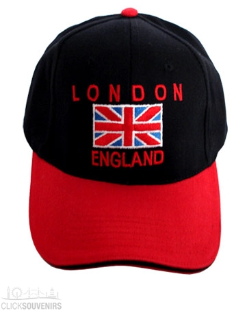 Red and Black Union Jack Baseball Cap UK