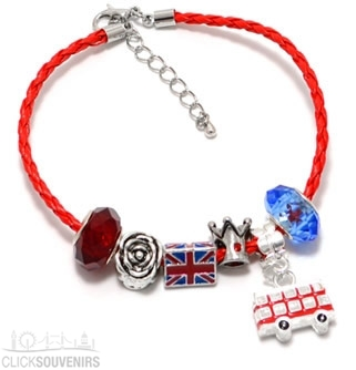 Braided Leather Union Jack Charm Bracelet with Bus