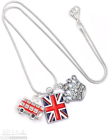 Red Bus, Diamante Crown & Union Jack Charm Necklace