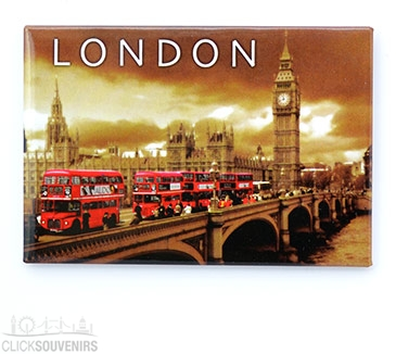 Red Buses on Westminster Bridge Picture Magnet