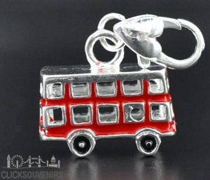 Silver Plated Red Enamel Bus Charm