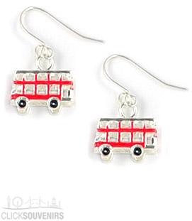 Red Enamel Bus Earrings