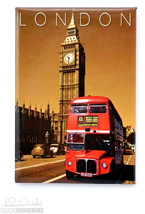 Red Bus by Big Ben Picture Magnet