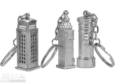 Set of 3 Silver Metal London Keyrings