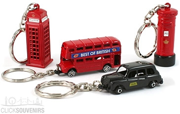 Gift Set of Four Metal London Keyrings with Bus & Taxi
