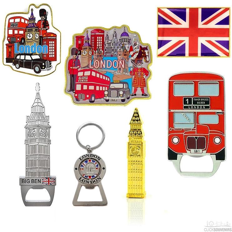 Gift Set of Seven London Fridge Magnets and Bottle Openers