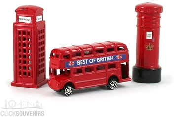 Gift Set of Three Die Cast Metal London Magnets
