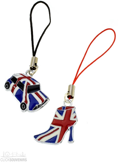 Gift Set of Two Union Jack Phone Charms