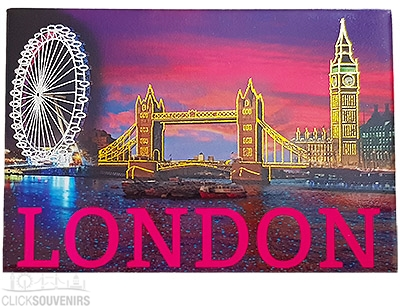 London Sights By Night Foil Picture Magnet