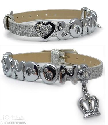 Silver Glitter Rhinestone Crown London Letter Bracelet