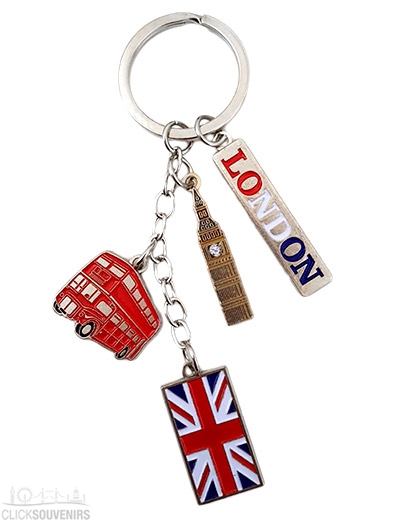 Silver Metal London Charm Keyring with Bus and Big Ben