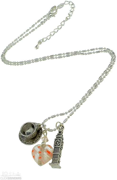 Silver Plated Necklace with Big Ben and English Tea Cup