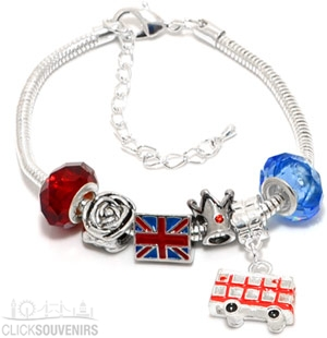 Silver Plated Union Jack Charm Bracelet with Bus