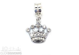 Silver Tone Diamante Crown Dangle Bead