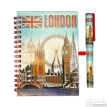 Sky Blue London Souvenir Note Book and Pen