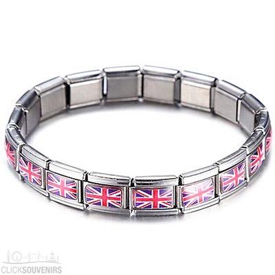 Stainless Steel Silver Union Jack Bracelet