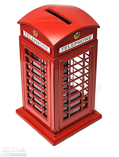 London Souvenir Die Cast Metal Telephone Box Money Box