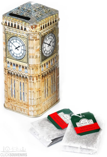 Tin Big Ben Money Box Tea Caddy with 20 Teabags