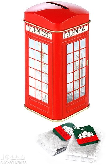 Tin Phone Box Money Box Tea Caddy with 20 Teabags