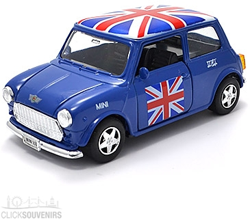Pullback Blue Union Jack Mini Cooper Model Car