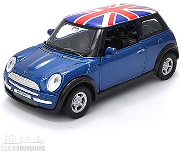 Pullback Dark Blue Union Jack Mini Cooper Model Car