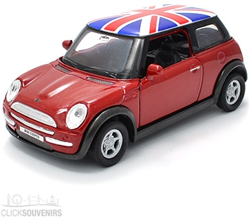 Pullback Dark Red Union Jack Mini Cooper New Model Car