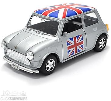 Pullback Silver Union Jack Mini Cooper Model Car