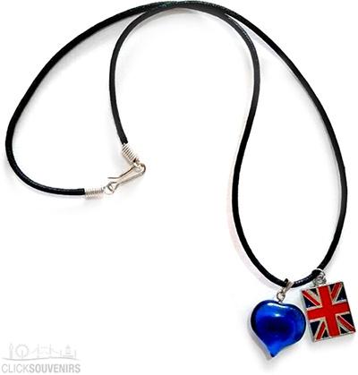 Union Jack Necklace with Natural Blueberry Quartz Heart
