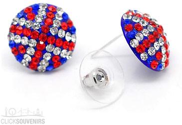 Union Jack Rhinestone Earrings