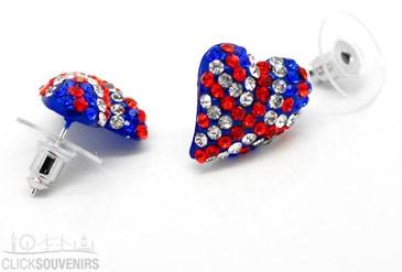Union Jack Rhinestone Heart Earrings