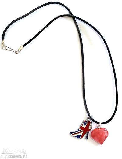 Union Jack with Cherry Quartz Heart Necklace