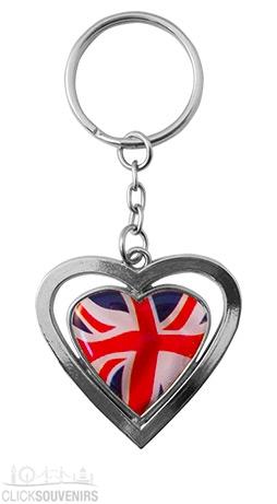 Wavy Union Jack Heart Metal Souvenir Keyring