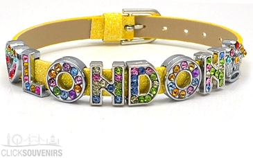 Yellow Glitter Multicoloured London Letters Bracelet