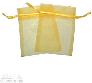 Yellow Organza Gift Bag 9 x 7cm