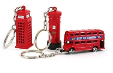 Gift Set of 3 Die Cast Metal London Keyrings