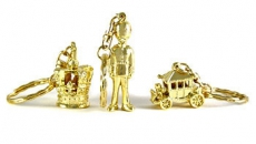 Gift Set of 3 Gold Metal Keyrings