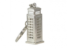 Silver Metal Telephone Box Keyring
