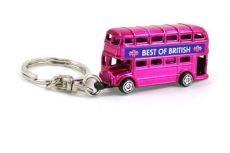 Die Cast Metal Pink Double Becker Bus Keyring