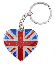 Glitter Heart Shaped Union Jack Keyring
