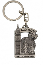 Metal Keyring with Big Ben and Tower Bridge