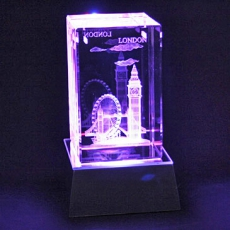 Laser Art London Crystal & Colour Changing Light Stand