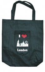 Black Folding London Shopping Bag