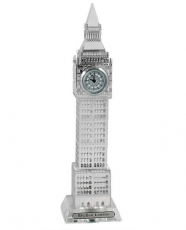 17cm Light Up Silver Plated Crystal Big Ben Clock