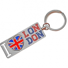 Metal London Keyring with Union Jack Heart Spinner