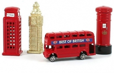 Gift Set of 4 Die Cast Metal London Magnets