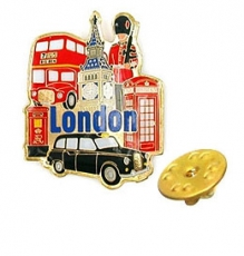 London Multiscene Metal Lapel Pin Badge
